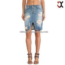 2015 New designer Piercing damage jeans women's denim skirt (JX77003)
