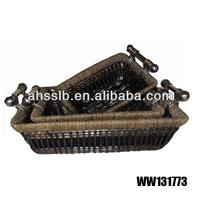 black rectangular wicker tray with metal handle