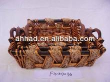 handmade decorative tray / rectangle wicker dry fruit tray / rectangle wicker and grass tray