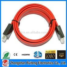 Flat HDMI Cable 1.4 or V2.0 with ethernet 0.8m 1m 1.5m 2m 3m 5m 8m10m15m 20m HD1440P 4K 3D function