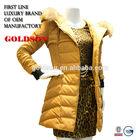 2015 Fashion winter women jacket long yellow down coat