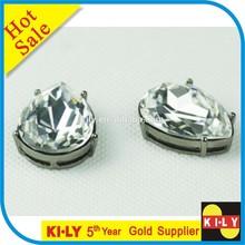 crystal tear drop sew on rhinestone with claw setting