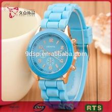Hot selling fashion silicone geneva lady watch