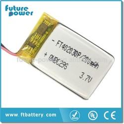 FT402030 3.7V 200mah Lithium Battery for bluetooth headset battery manufacturer