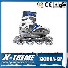 Wholesale clothing adjustable semi-soft PU wheels 3 wheel roller skates yellow and black soft boy boot skate