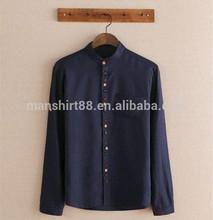 Latest fashion design collarless cotton line mens dress shirts
