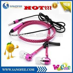 new product 2015 zipper earphone, earphone for iphone