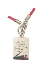 customized red plastic strip square emboss logo tag necklace