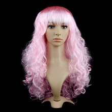 Hot sale cheap Synthetic long curly cosplay pink wig