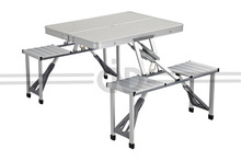 Picnic Time Portable Folding Aluminum Table with Seating for 4