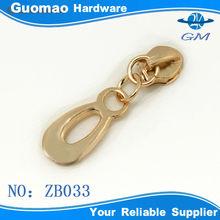 Light gold zinc alloy fashion zipper puller metal slider