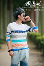 2014 Peijiaxin Fashion Design Casual Style Long Sleeve Slim Striped Tshirt Men Cheap China Wholesale Clothing