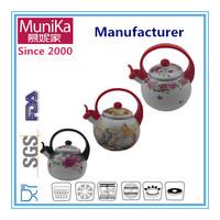 iron kettle 2.2L porcelain enamel sound whistle kettle tea set induction Water kettle pot decal enamel tea pot