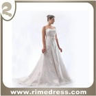 A-Line Strapless Embellished Lace Wedding Dress/Bridal Gown- RBL00112