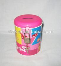Round tin money coin box