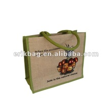 personalized promotional nature jute tote bag/shopping bag with leather handles