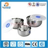 3pcs small stainless steel salad container with plastic lid