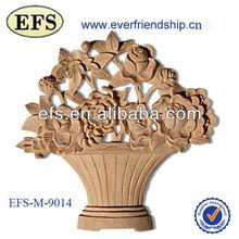 antique hand carving wood basket onlay (EFS-M-9014)