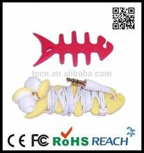 Fish bone earphone cable winder
