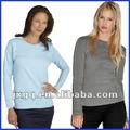precio directo de fábrica camiseta de manga larga 100% de algodón de mujer con diseño liso al por mayor