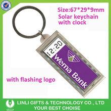 Acrylic Promotional clock oem logo flashing solar keychain