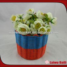 Handmade woven craft--plastic flower pot