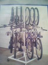 Gravity bike rack for 6 bikes