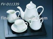 strengthen porcelain teapot, jar, coffee cup&saucer, wooden tray, dinnerware