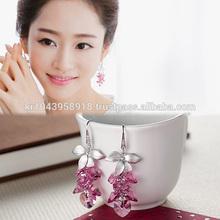 Pink Heart Crystals Chandelier Earrings Korean Fashion Handmade Jewelry SW001