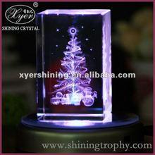 Led light base crystal 3d laser for christmas gifts