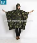 OEM factory military poncho waterproof breathable camouflage pu rain poncho adult waterproof poncho
