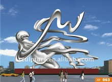 large stainless steel modern arts nude woman statue