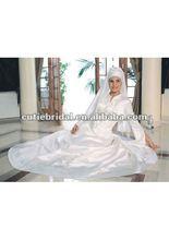 MW007 Satin Formal Arab Long Sleeve Muslim Wedding Gown