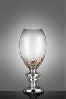Glass silverplate foot wedding centerpiece