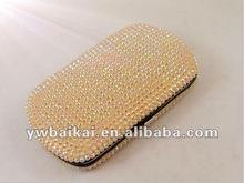 Bling de oro de doble cara rhinestone de aluminio y caja de tarjeta conocida