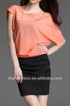 trendy OL dress with lotus sleeve style
