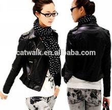 092056 China atacado moda jaqueta de couro PU mulheres jaqueta de couro preta mais recente projeto em 2014