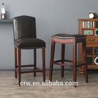 wholesale wooden bar chair/rivet bar stool /leather bar chair