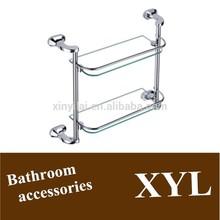 Double layer glass shelves Bathroom double glass shelf