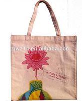 100%recyclable cotton bag/ cheap plain tote canvas bags/ flower pattern organic cotton bag