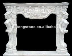Indoor White Marble Fireplace with Figure Statue