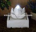 poli resina de loto blanco bola de agua bomba de la fuente con luces de energía solar