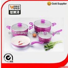 Ceramic Aluminum 7 pcs cookware sets