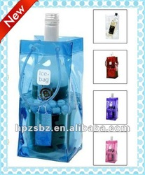 Table Wine Bag With Plastic,Clear pvc Hand bag,wine cooler plastic bag,