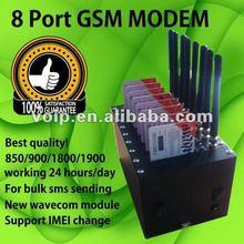 8 port SMS modem wavecom Q2303 module bulk sms modem gsm quad band 850/900/1800/1900mhz gprs edge