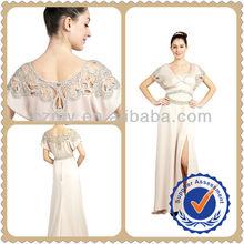 2013 The Latest Elegant Skin Color & Unique Beaded Sleeve Edge Short Sleeve Satin Evening Dress MY-12084