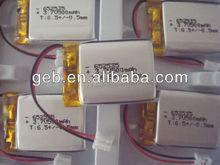 3.7V li-ion polymer battery with 500mAh 652535 high capacity for GPS