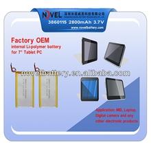 OEM factory internal li-polymer battery 2800mAh / rechargeable battery pack 3.7V 3866115