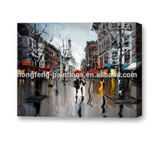 Palette knife modern impressionist Paris streetscape oil painting