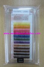 Hot! wholesale charming silk lashes faux fiber eyelash extensions premium synthetic false mink eyelash colorful and two-tone